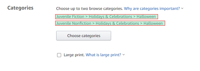 categories selected